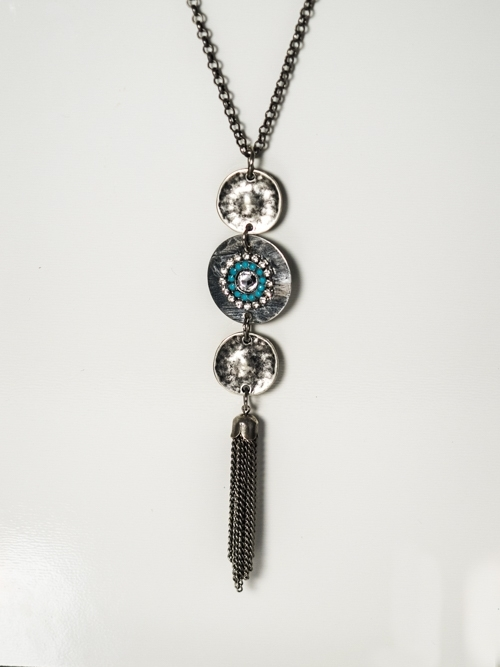 Tassel Filigree Three In Line Necklace