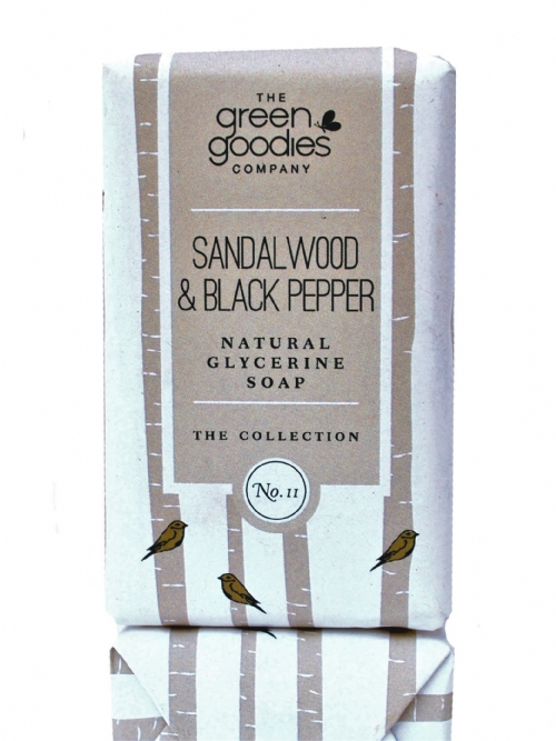 Green Goodies Natural Glycerine Soap Sandalwood & Black Pepper 160g