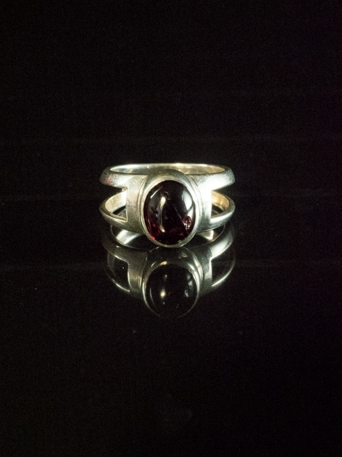 Window Dome Ring with Oval Garnet