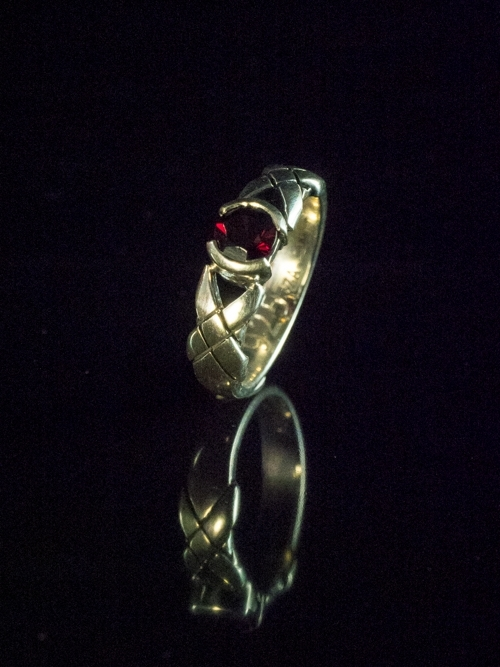 Ethnic Buckle Ring with Round Garnet
