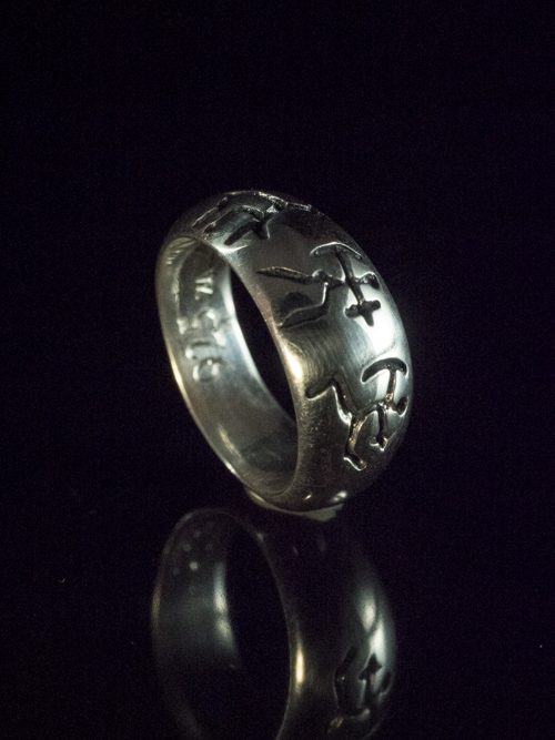 Three Bushmen Solid Ring