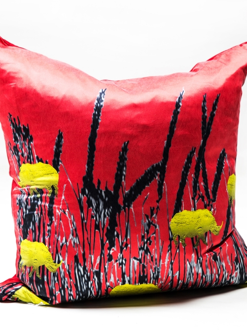 Cushion Cover - Rhino & Grasses in Silk - Large