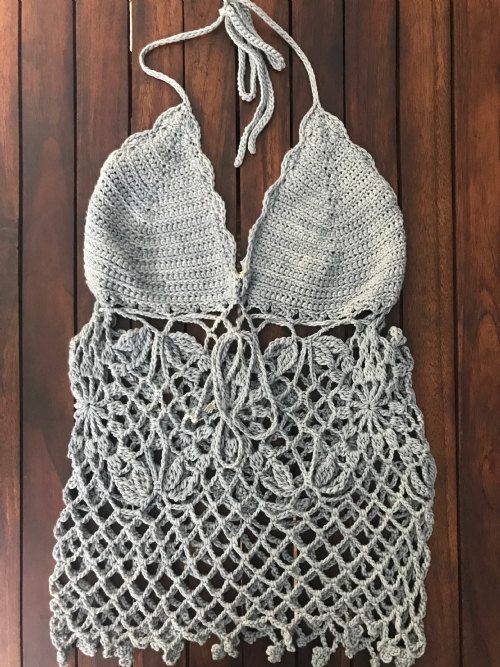 Crocheted Lace Halter-Neck Top (blue-grey)