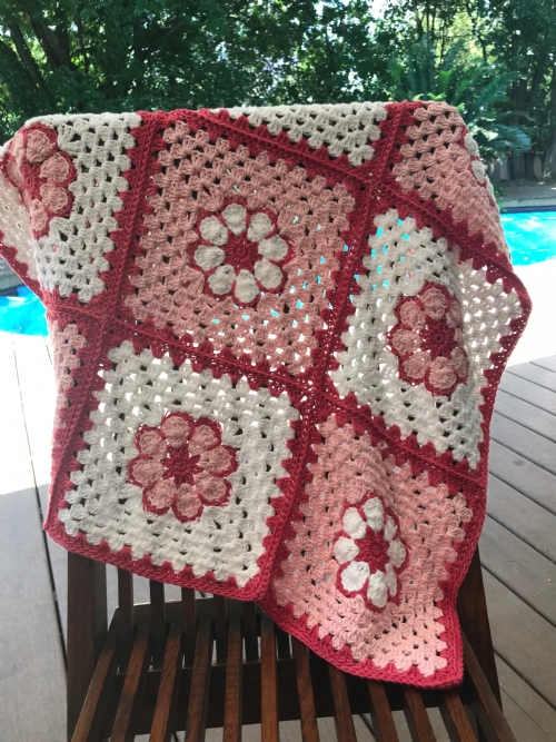 Flower Granny Square Pram Blanket