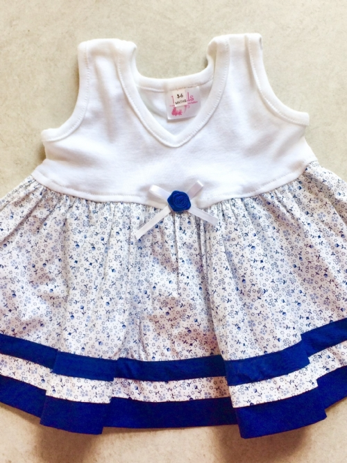 Dress - Navy and White Floral
