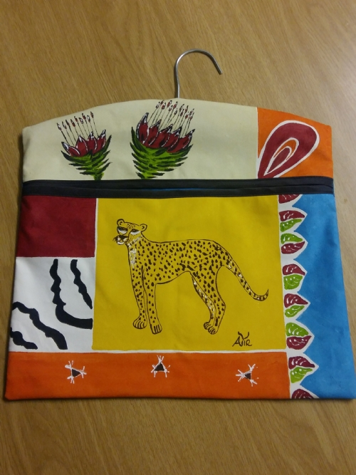 Storage Bag Red Protea with Cheetah
