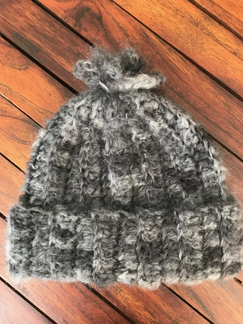 Ribbed Beanie - Charcoal Mohair