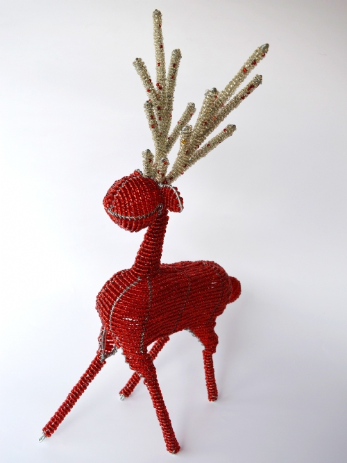 Reindeer With Beaded Antlers - Large