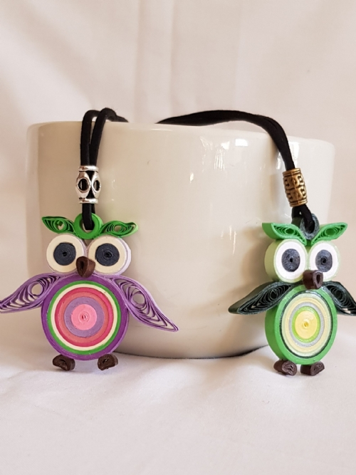 Quilling Paper Owl Necklace