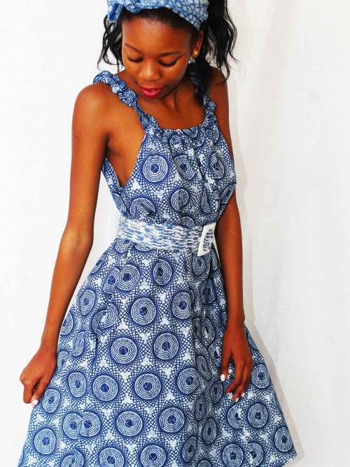 Elastic Neck Dress - Blue and White