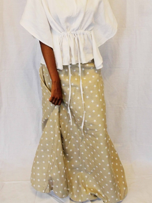 RQC Long Balloon Skirt - Fawn and White Stars