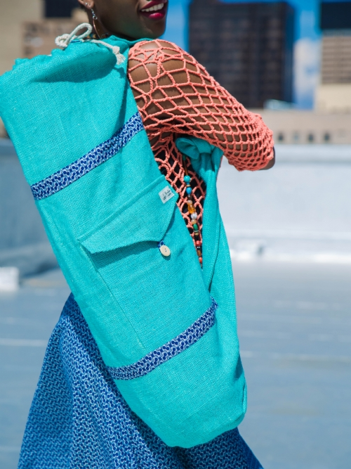 Reversible Yoga Mat Bag - Turquoise/Blue Shweshwe