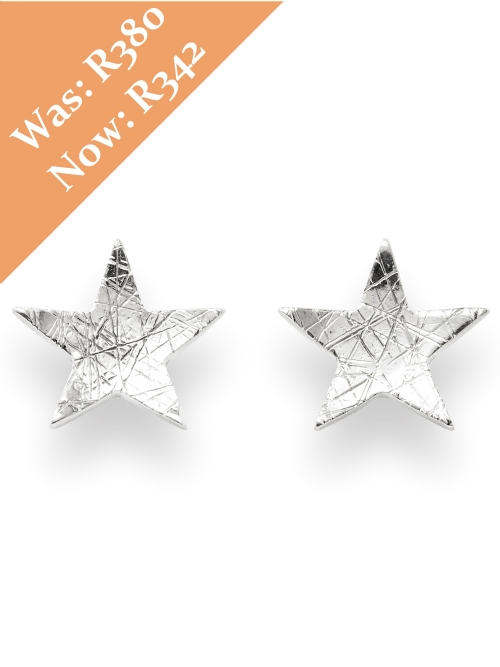 Silver Star Shape Stud Earrings
