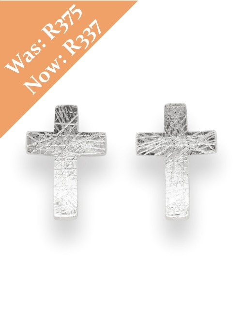 Silver Cross Shape Stud Earrings