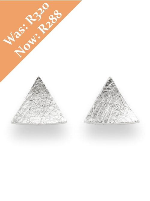 Silver Triangle Shape Stud Earrings