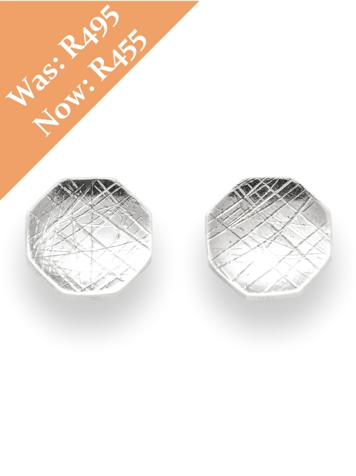 Silver Hexagon Shape Stud Earrings