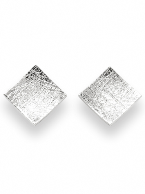 Silver Square Shape Stud Earrings