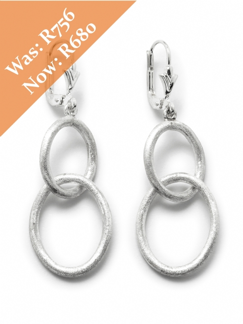 Silver Double Oval Hoop Earrings - matte