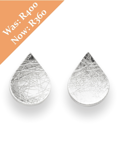 Silver Pear Shape Stud Earrings