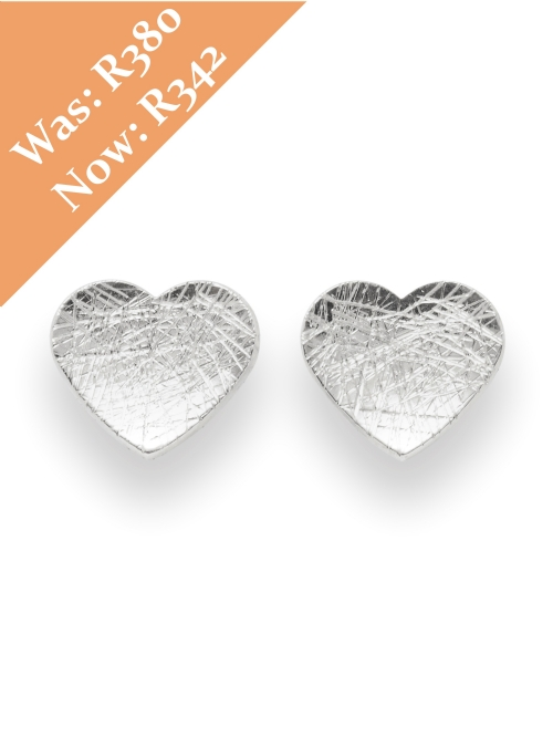 Silver Heart Shape Stud Earrings