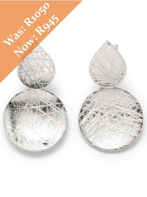 Silver Double Disc Hoop Earrings