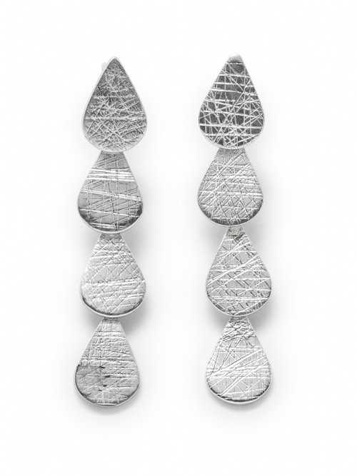 Silver Pear Shape Drop Earrings