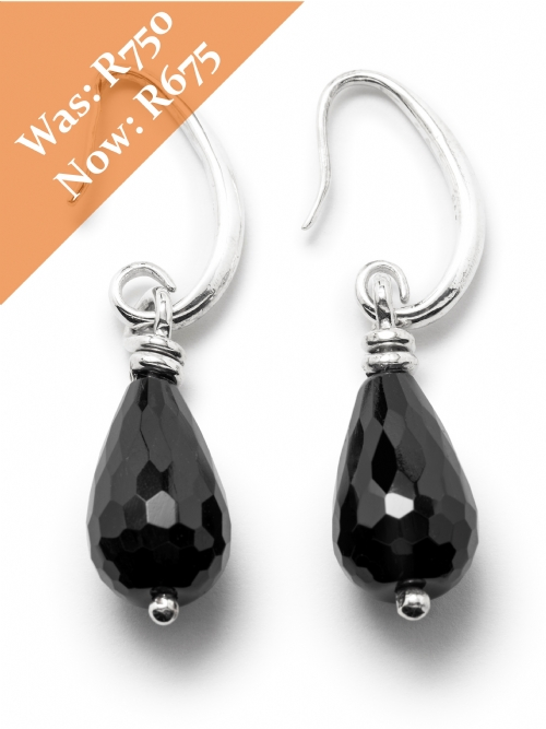 Silver Black Onyx Hoop Drop Earrings