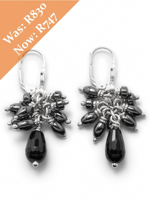 Silver Hemitite Cluster Earrings