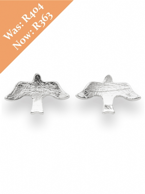 Silver Dove Shape Stud Earrings