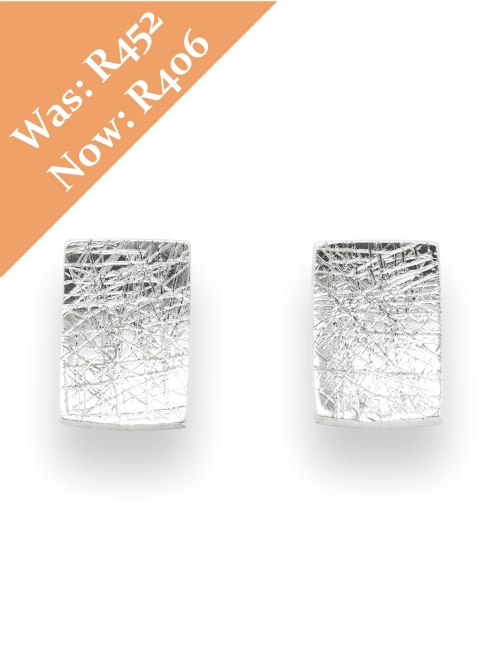 Silver Rectangular Shape Stud Earrings