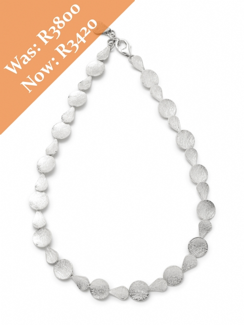Silver Pear Round Disc Neck Chain