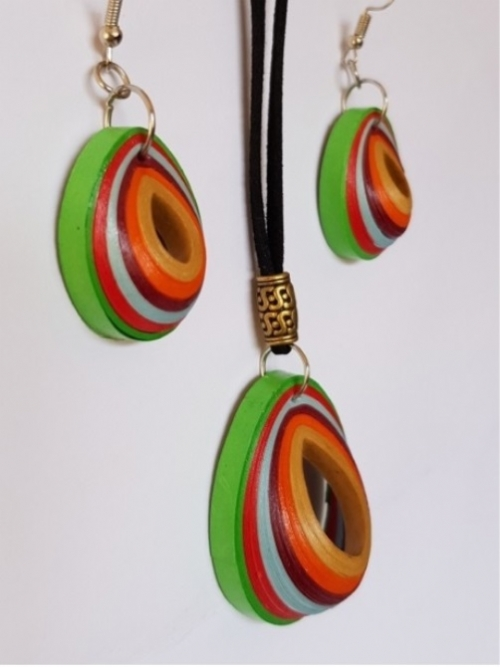 Quilling Teardrop Earrings & Necklace Set