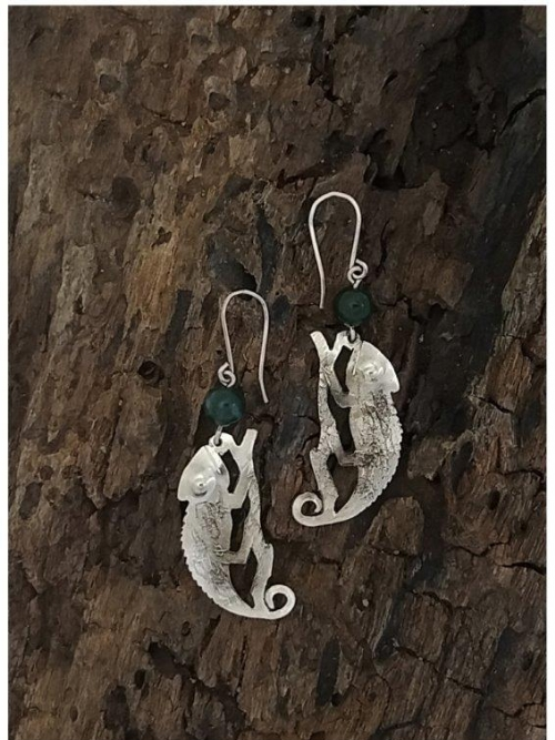 Chameleon And Indian Agate Drop Earrings