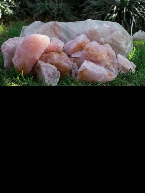 Rose Quartz Garden Stone Bag