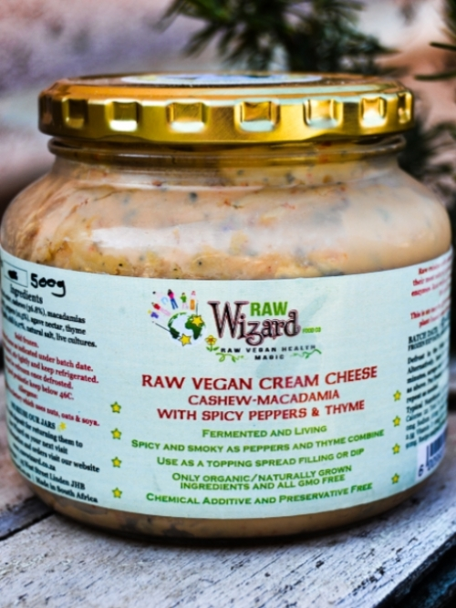 Vegan Cream Cheese - Cashew Macadamia Spicy Peppers Thyme, 500g