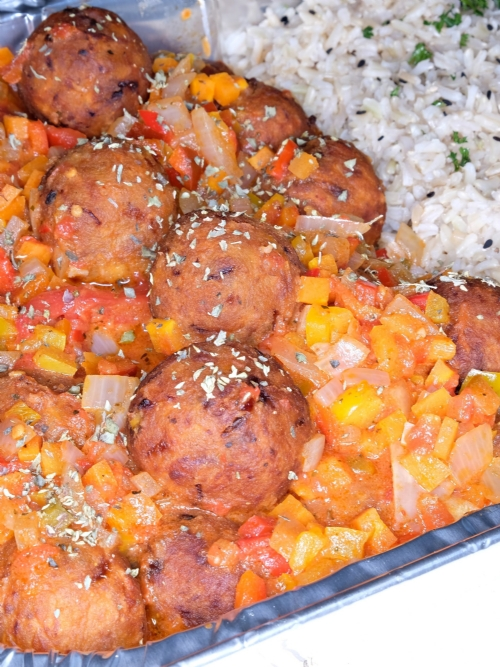 Vegan Meatballs and Rice, Frozen