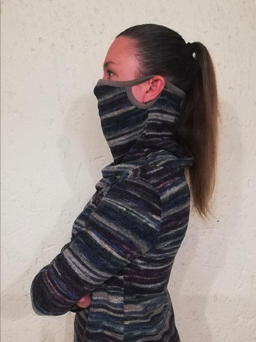 Face Mask Polar Neck Top - multi colour