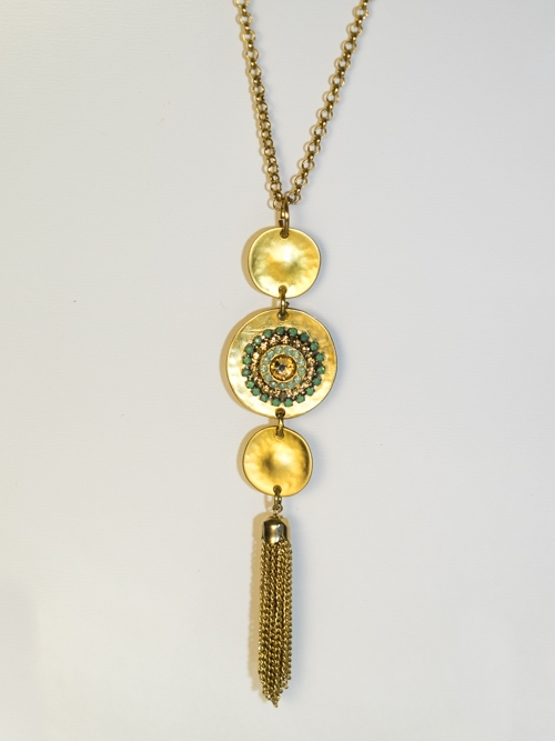 Tassel Filigree Three In Line Necklace