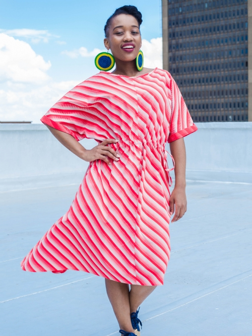 Folded Sleeve Dress - Red and White