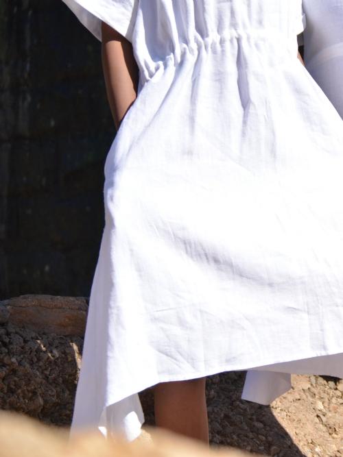 Folded Sleeve Dress - White