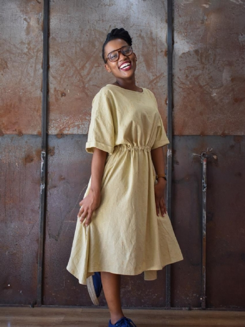 Folded Sleeve Dress - Fawn Embroidered