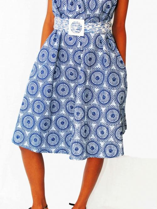 Elastic Neck Dress - Blue and White