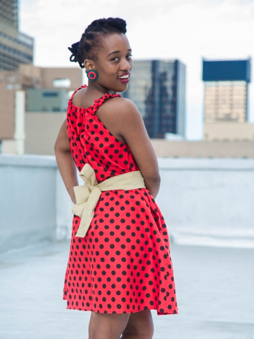 Elastic Neck Dress - Red and Black