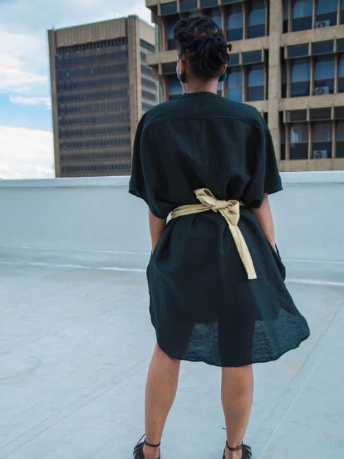 Front Folded Dress - Black