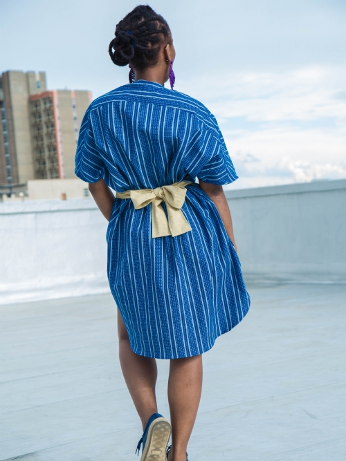 Front Folded Dress - Blue and White Strips and Dots