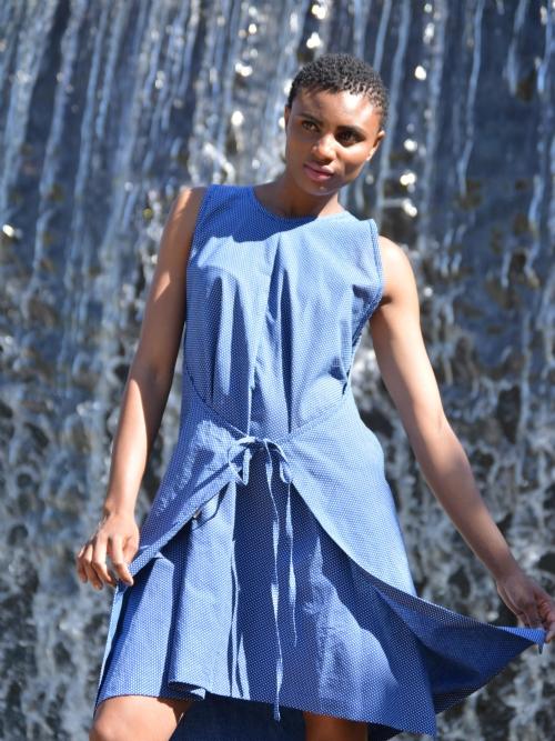 Apron Dress - Blue and White Dots