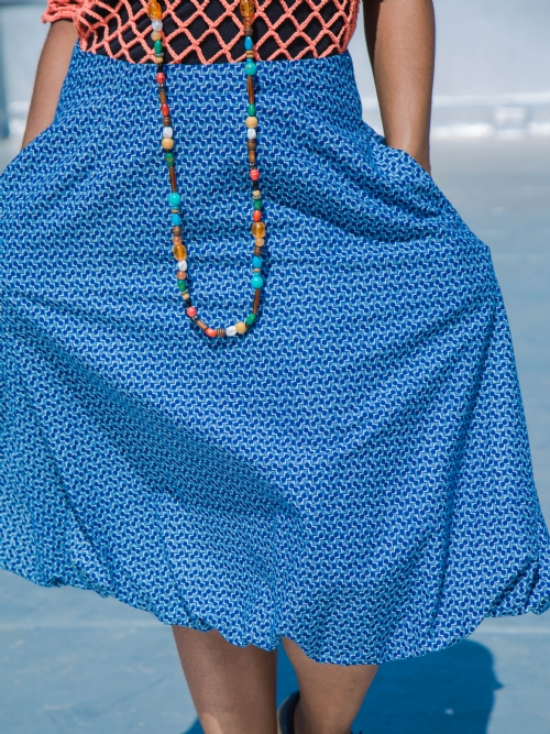 Balloon Skirt - Blue And White Cubes