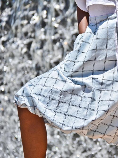 Balloon Skirt - Blue Check