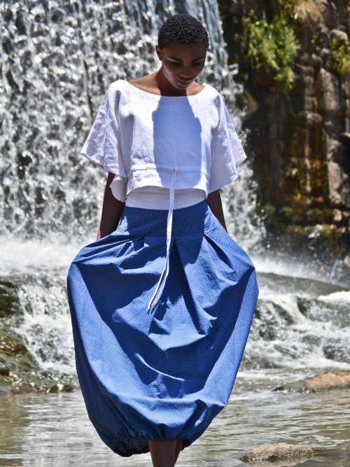 Long Pleated Balloon Skirt - Blue and White Dots