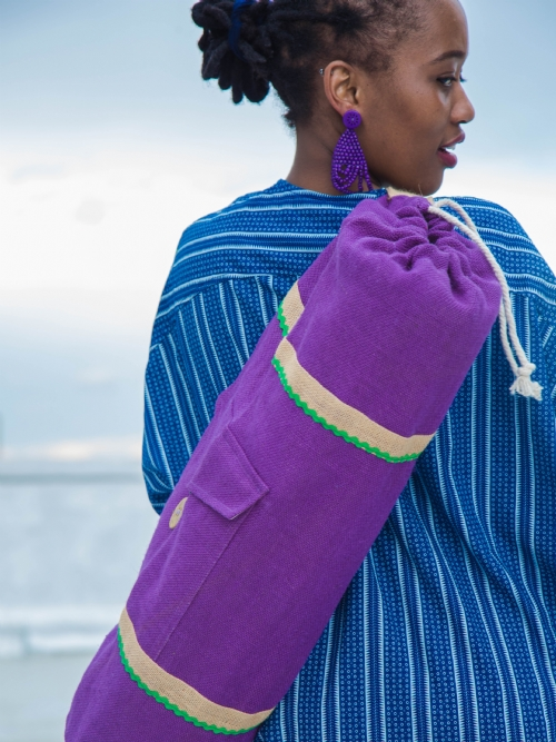 Lined Yoga Mat Bag - Purple